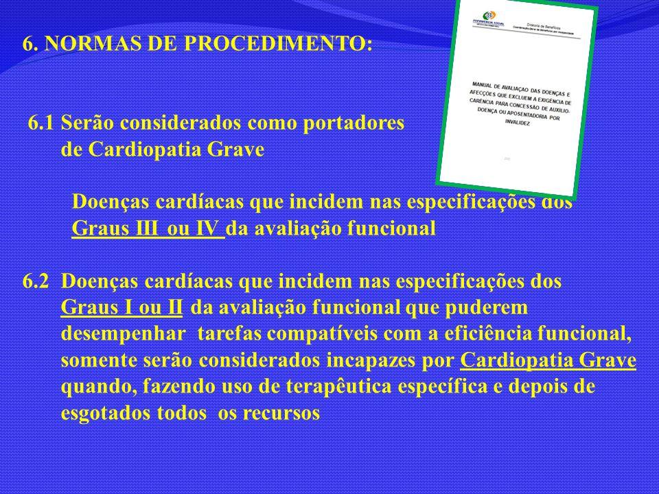 6. NORMAS DE PROCEDIMENTO: 6.1 Serão considerados como portadores de Cardiopatia Grave Doenças cardíacas que incidem nas especificações dos Graus III