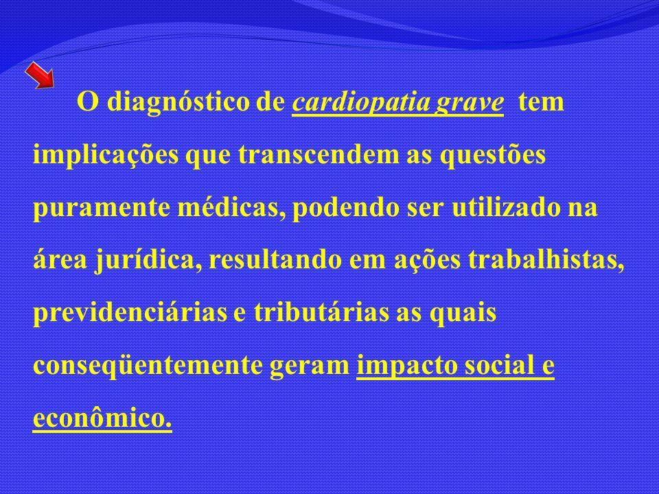 O diagnóstico de cardiopatia grave tem implicações que transcendem as questões puramente médicas, podendo ser utilizado na área jurídica, resultando e