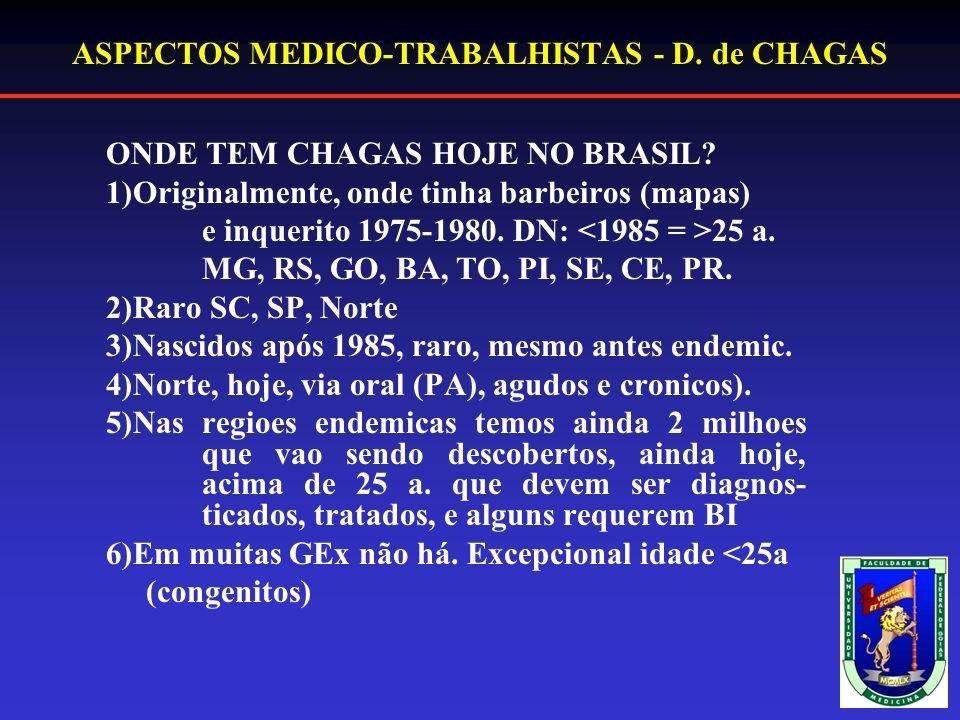 ASPECTOS MEDICO-TRABALHISTAS - D.de CHAGAS ONDE TEM CHAGAS HOJE NO BRASIL.
