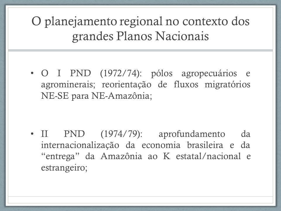 Grandes Programas: POLAMAZÔNIA/ POLOCENTRO / POLONOROESTE POLAMAZÔNIA (Programa de Pólos Agropecuários e Agrominerais da Amazônia) POLOCENTRO (Programa de Desenvolvimento dos Cerrados) POLONOROESTE (Programa Integrado de Desenvolvimento do Noroeste do Brasil)