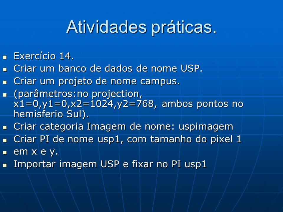 Atividades práticas. Exercício 14. Exercício 14. Criar um banco de dados de nome USP. Criar um banco de dados de nome USP. Criar um projeto de nome ca