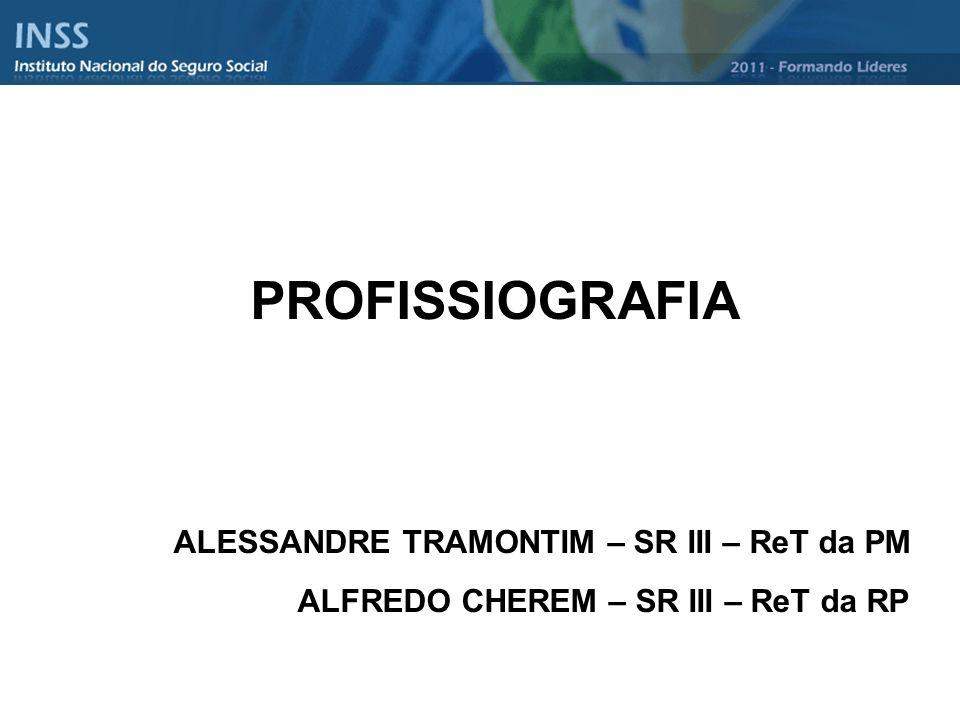 ERGOLOGIA CIÊNCIA PSICOLÓGICA DO TRABALHO HUMANO Estuda as profissões: subjetiva e objetivamente PROFISSIOLOGIA CIÊNCIA QUE ESTUDA A PROFISSIOGRAFIA Estudo científico das profissões com o objetivo específico de seleção e orientação profissional PROFISSIOGRAFIA Originária da palavra PROFISSÃO