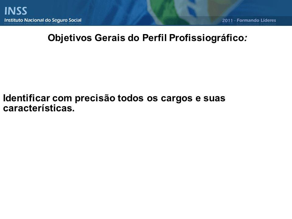 Objetivos Gerais do Perfil Profissiográfico: Identificar com precisão todos os cargos e suas características.