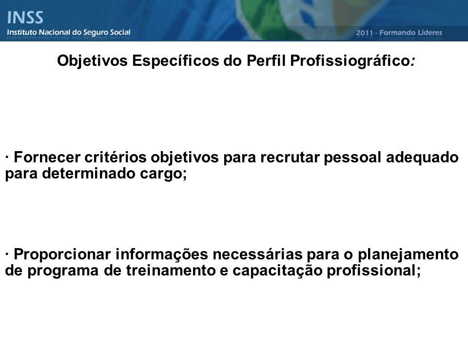 Objetivos Específicos do Perfil Profissiográfico: · Fornecer critérios objetivos para recrutar pessoal adequado para determinado cargo; · Proporcionar
