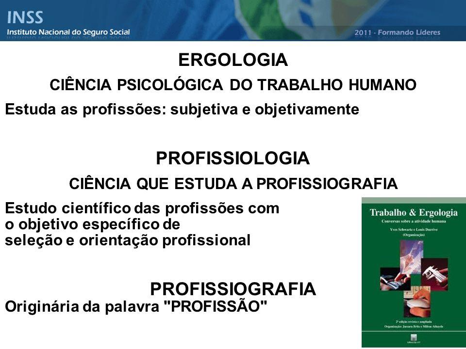 ERGOLOGIA CIÊNCIA PSICOLÓGICA DO TRABALHO HUMANO Estuda as profissões: subjetiva e objetivamente PROFISSIOLOGIA CIÊNCIA QUE ESTUDA A PROFISSIOGRAFIA E