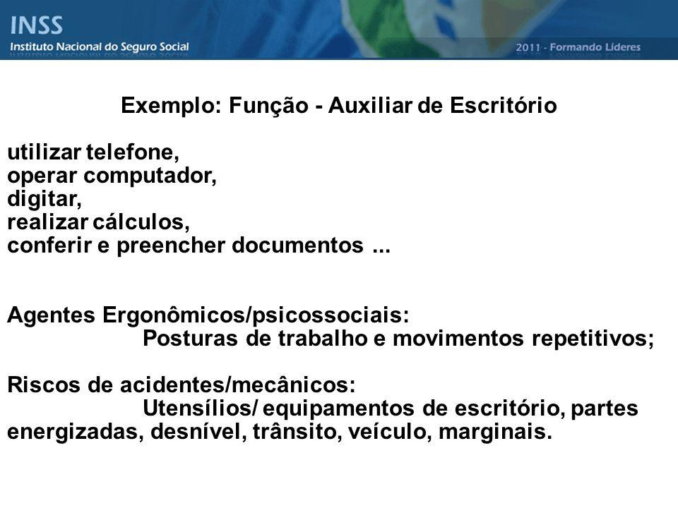 Exemplo: Função - Auxiliar de Escritório utilizar telefone, operar computador, digitar, realizar cálculos, conferir e preencher documentos... Agentes