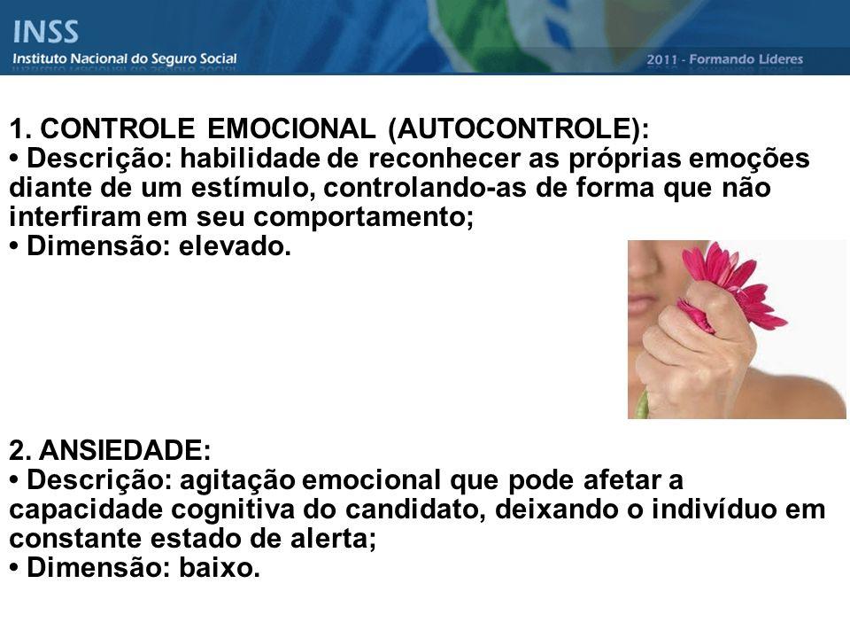 1. CONTROLE EMOCIONAL (AUTOCONTROLE): Descrição: habilidade de reconhecer as próprias emoções diante de um estímulo, controlando-as de forma que não i
