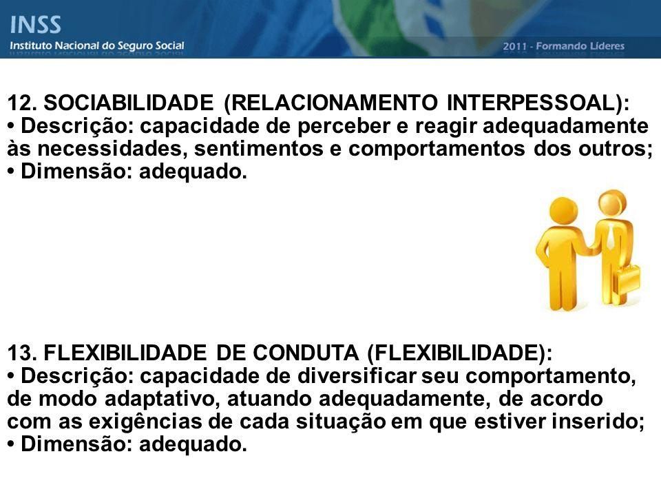12. SOCIABILIDADE (RELACIONAMENTO INTERPESSOAL): Descrição: capacidade de perceber e reagir adequadamente às necessidades, sentimentos e comportamento