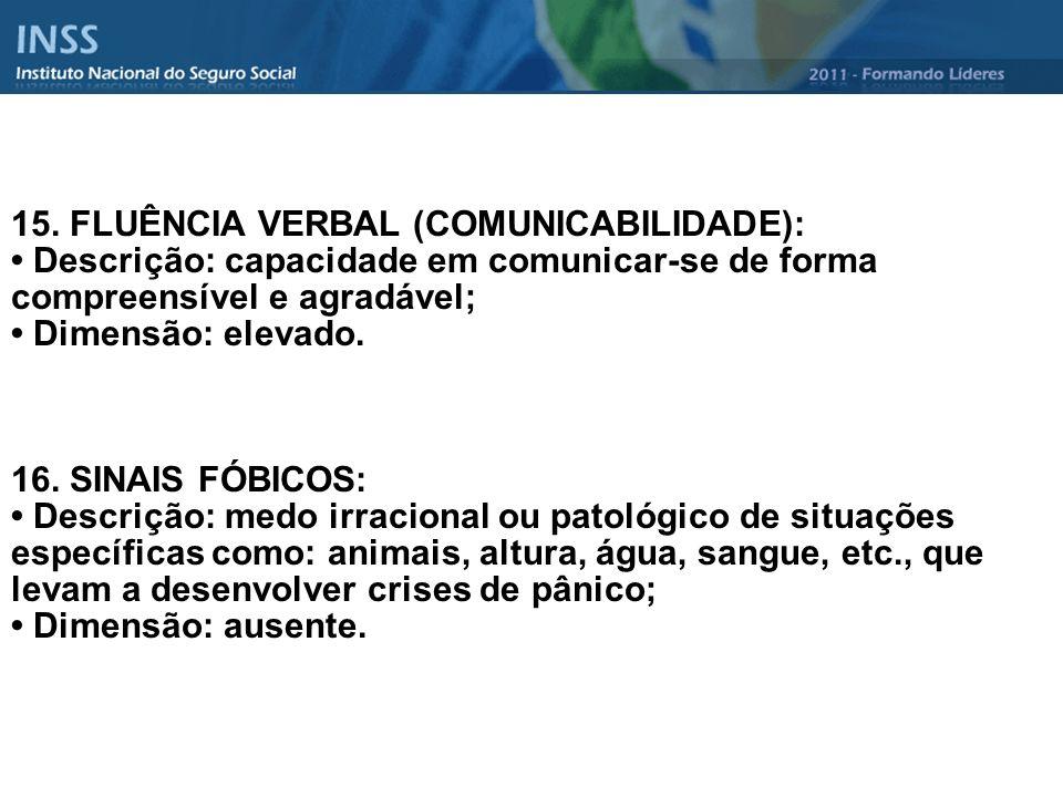 15. FLUÊNCIA VERBAL (COMUNICABILIDADE): Descrição: capacidade em comunicar-se de forma compreensível e agradável; Dimensão: elevado. 16. SINAIS FÓBICO