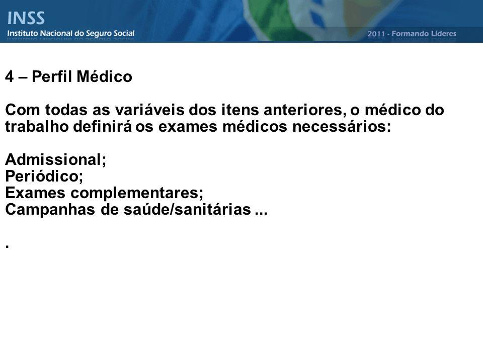 4 – Perfil Médico Com todas as variáveis dos itens anteriores, o médico do trabalho definirá os exames médicos necessários: Admissional; Periódico; Ex