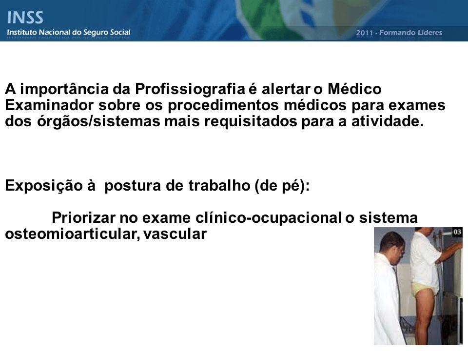 A importância da Profissiografia é alertar o Médico Examinador sobre os procedimentos médicos para exames dos órgãos/sistemas mais requisitados para a