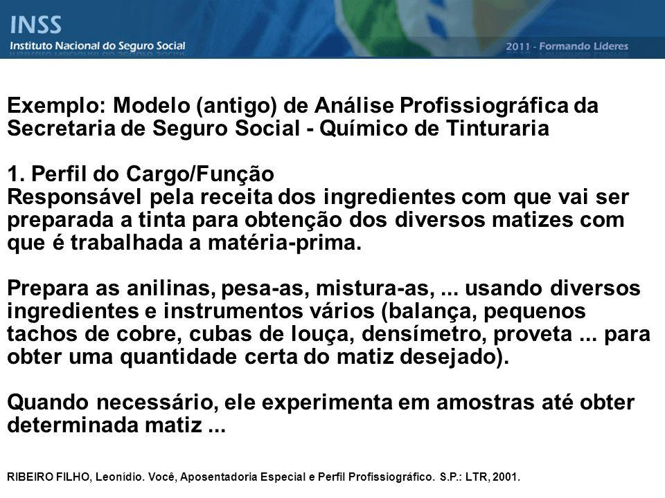 Exemplo: Modelo (antigo) de Análise Profissiográfica da Secretaria de Seguro Social - Químico de Tinturaria 1. Perfil do Cargo/Função Responsável pela