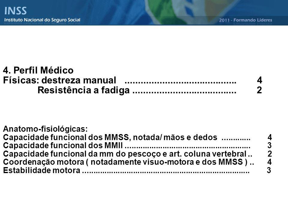 4. Perfil Médico Físicas: destreza manual.......................................... 4 Resistência a fadiga....................................... 2 An