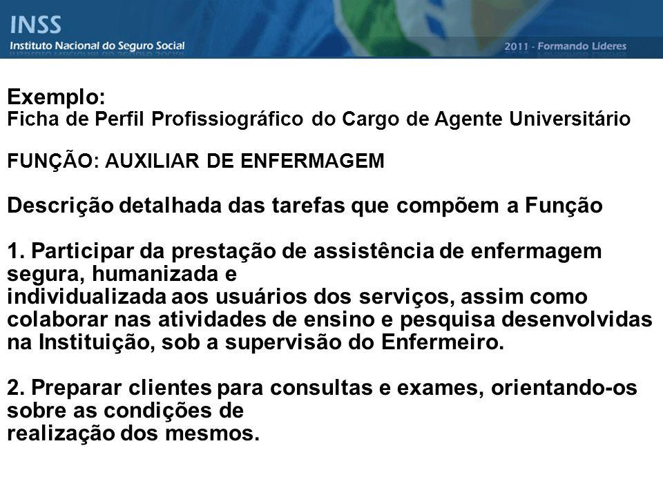 Exemplo: Ficha de Perfil Profissiográfico do Cargo de Agente Universitário FUNÇÃO: AUXILIAR DE ENFERMAGEM Descrição detalhada das tarefas que compõem