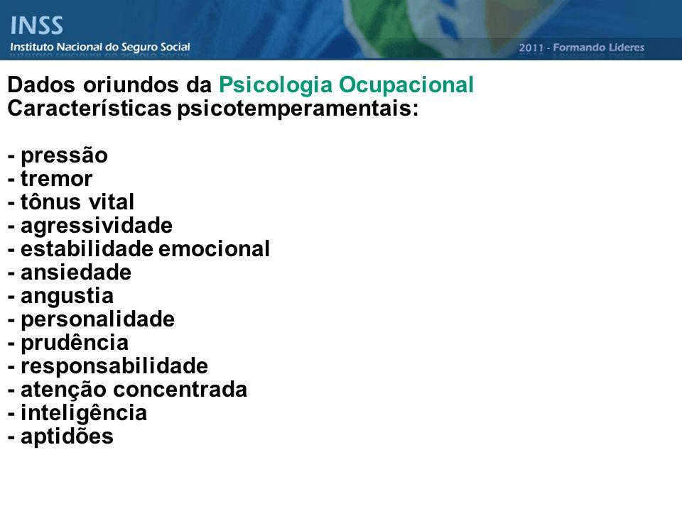 Dados oriundos da Psicologia Ocupacional Características psicotemperamentais: - pressão - tremor - tônus vital - agressividade - estabilidade emociona
