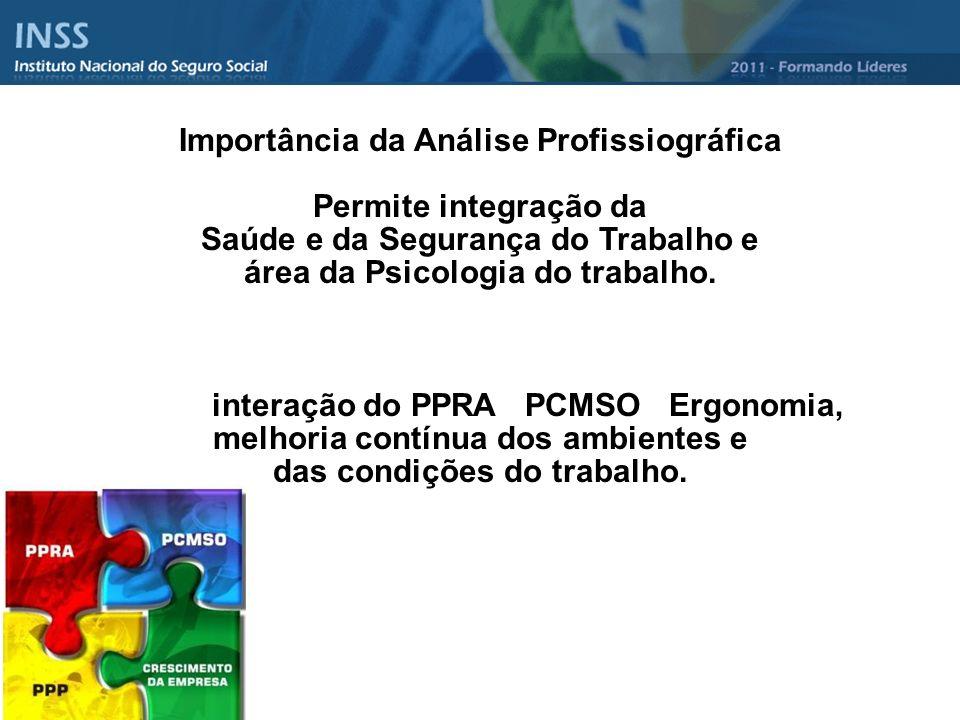 Importância da Análise Profissiográfica Permite integração da Saúde e da Segurança do Trabalho e área da Psicologia do trabalho. interação do PPRA PCM