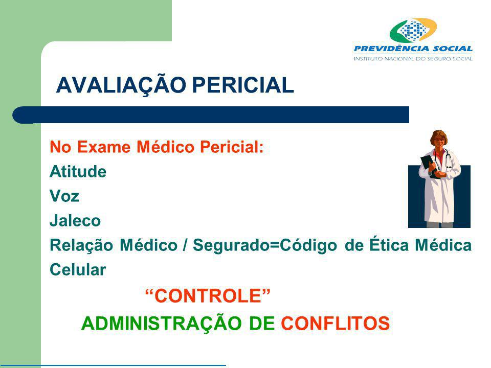AVALIAÇÃO PERICIAL No Exame Médico Pericial: Atitude Voz Jaleco Relação Médico / Segurado=Código de Ética Médica Celular CONTROLE ADMINISTRAÇÃO DE CON