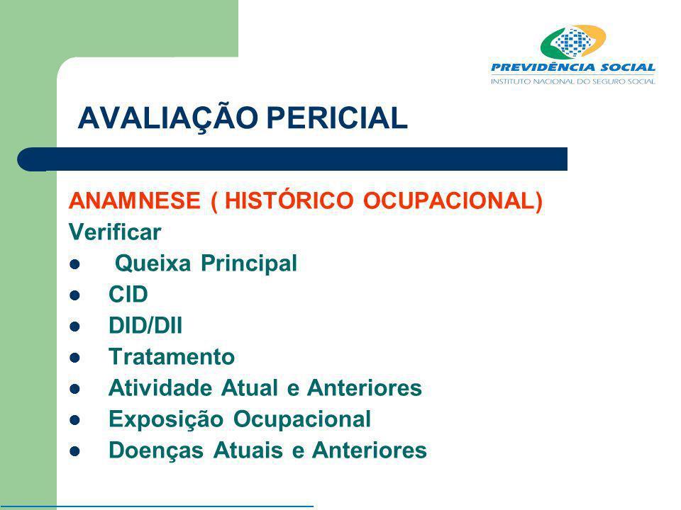 AVALIAÇÃO PERICIAL ANAMNESE ( HISTÓRICO OCUPACIONAL) Verificar Queixa Principal CID DID/DII Tratamento Atividade Atual e Anteriores Exposição Ocupacio