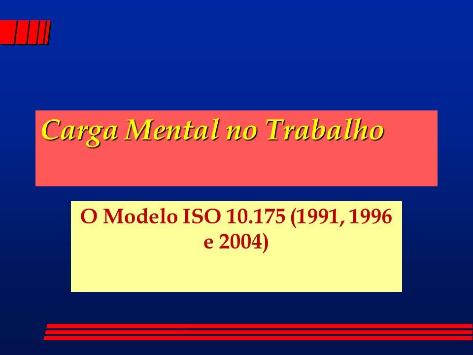 Carga Mental no Trabalho O Modelo ISO 10.175 (1991, 1996 e 2004)