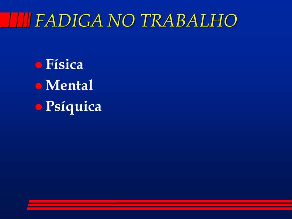 FADIGA NO TRABALHO l Física l Mental l Psíquica