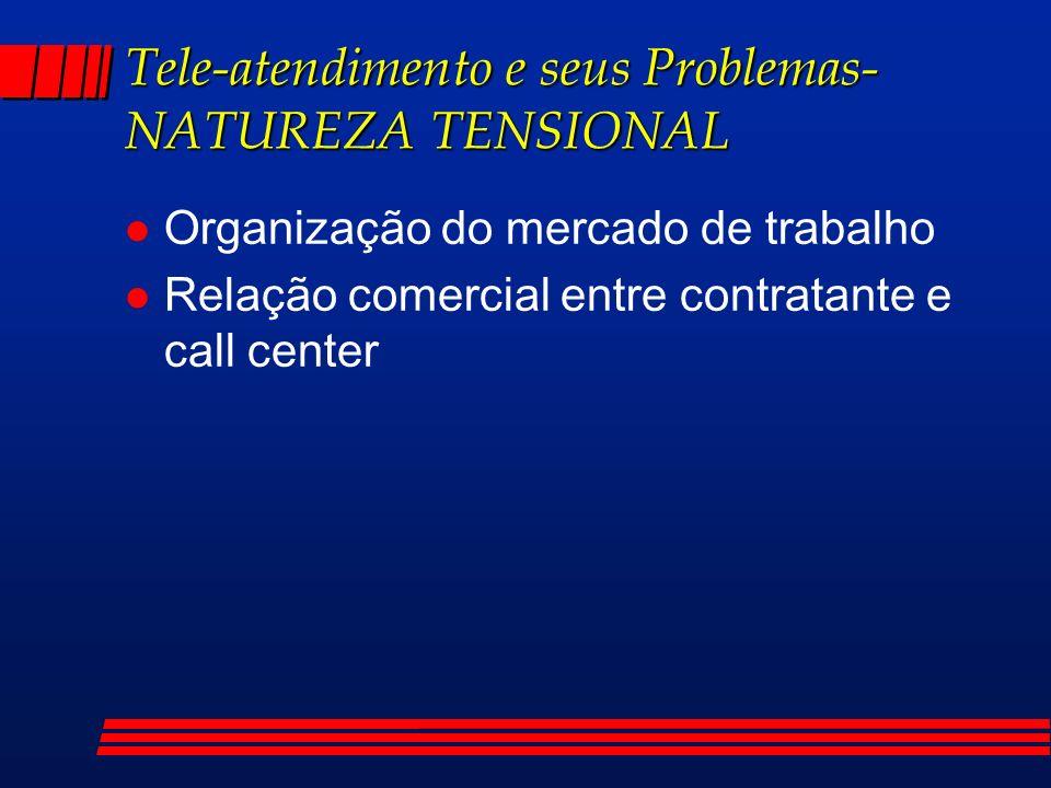 Tele-atendimento e seus Problemas- NATUREZA TENSIONAL l Organização do mercado de trabalho l Relação comercial entre contratante e call center
