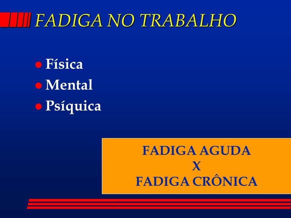FADIGA NO TRABALHO l Física l Mental l Psíquica FADIGA AGUDA X FADIGA CRÔNICA