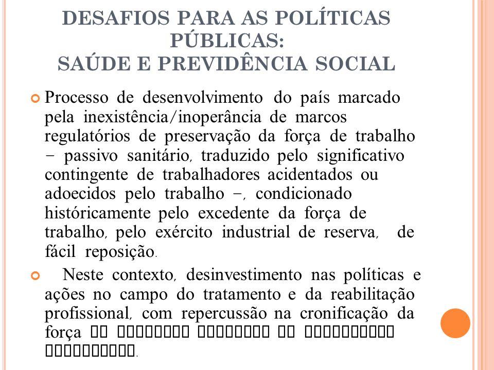 DESAFIOS PARA AS POLÍTICAS PÚBLICAS: SAÚDE E PREVIDÊNCIA SOCIAL Processo de desenvolvimento do país marcado pela inexistência / inoperância de marcos