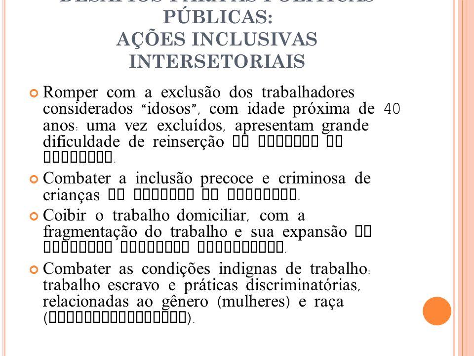 DESAFIOS PARA AS POLÍTICAS PÚBLICAS: AÇÕES INCLUSIVAS INTERSETORIAIS Romper com a exclusão dos trabalhadores considerados idosos, com idade próxima de