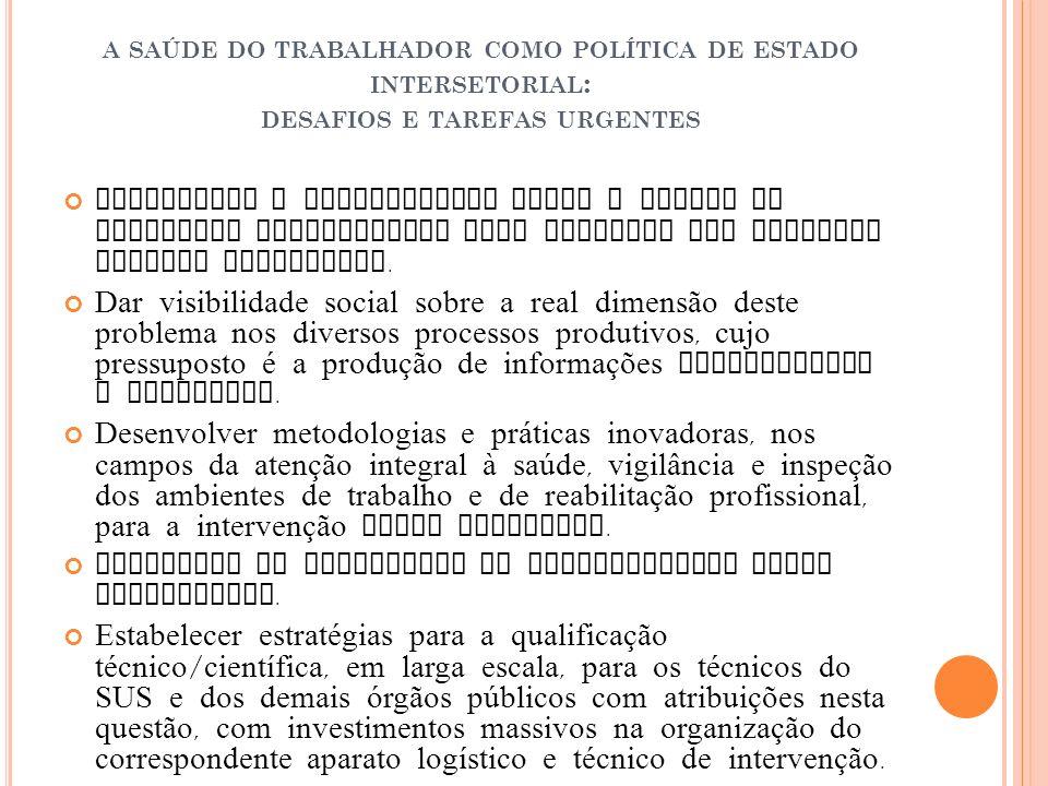 A SAÚDE DO TRABALHADOR COMO POLÍTICA DE ESTADO INTERSETORIAL : DESAFIOS E TAREFAS URGENTES Aprofundar o conhecimento sobre o perfil de morbidade condi