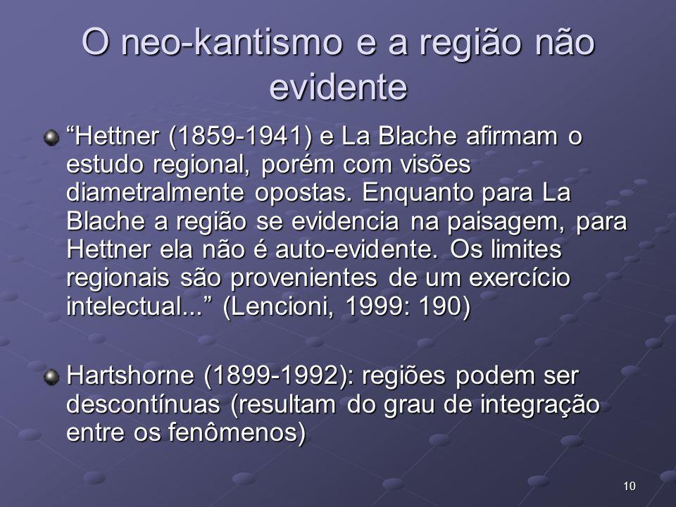 10 O neo-kantismo e a região não evidente Hettner (1859-1941) e La Blache afirmam o estudo regional, porém com visões diametralmente opostas. Enquanto