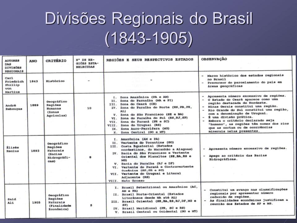 11 Divisões Regionais do Brasil (1843-1905)