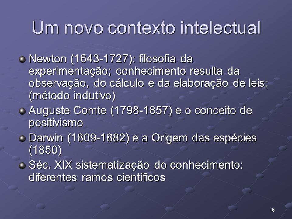 6 Um novo contexto intelectual Newton (1643-1727): filosofia da experimentação; conhecimento resulta da observação, do cálculo e da elaboração de leis