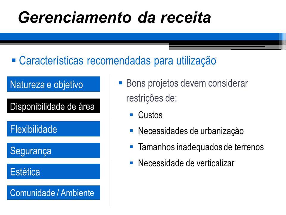 Gerenciamento da receita Características recomendadas para utilização Natureza e objetivo Disponibilidade de área Flexibilidade Segurança Estética Com