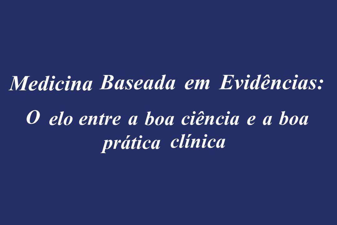 Tipos de Estudo Diagnóstico Tratamento Prognóstico Profilaxia Estudos de acurácia Ensaios clínicos randomizados Estudos coortes Ensaios clínicos randomizados Revisão Sistemática da Literatura Estudos de custo-benefício Protocolos clínicos para a prática clínica Estudos de variação terapêutica