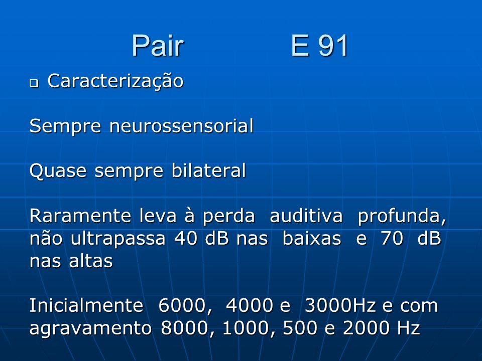 Pair E 91 Caracterização Caracterização Sempre neurossensorial Quase sempre bilateral Raramente leva à perda auditiva profunda, não ultrapassa 40 dB n