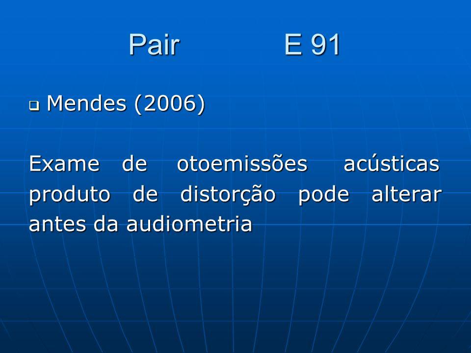 Pair E 91 Mendes (2006) Mendes (2006) Exame de otoemissões acústicas produto de distorção pode alterar antes da audiometria