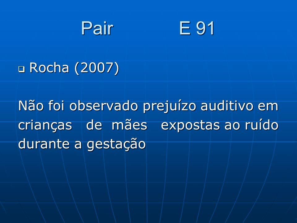 Pair E 91 Rocha (2007) Rocha (2007) Não foi observado prejuízo auditivo em crianças de mães expostas ao ruído durante a gestação