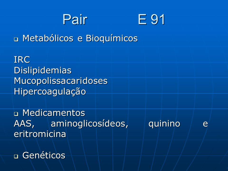 Pair E 91 Metabólicos e Bioquímicos Metabólicos e BioquímicosIRCDislipidemiasMucopolissacaridosesHipercoagulação Medicamentos Medicamentos AAS, aminog