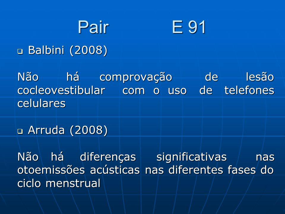 Pair E 91 Balbini (2008) Balbini (2008) Não há comprovação de lesão cocleovestibular com o uso de telefones celulares Arruda (2008) Arruda (2008) Não