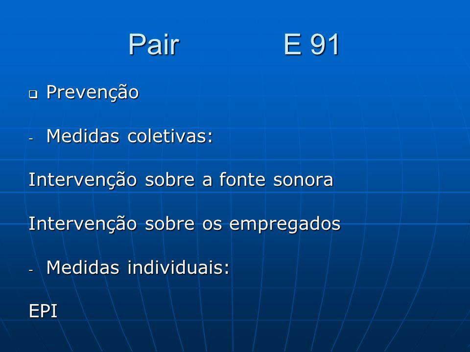 Pair E 91 Prevenção Prevenção - Medidas coletivas: Intervenção sobre a fonte sonora Intervenção sobre os empregados - Medidas individuais: EPI