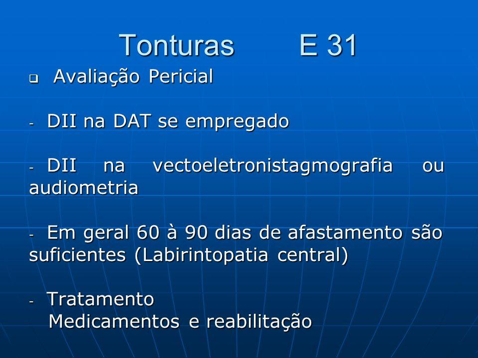 Tonturas E 31 Avaliação Pericial Avaliação Pericial - DII na DAT se empregado - DII na vectoeletronistagmografia ou audiometria - Em geral 60 à 90 dia