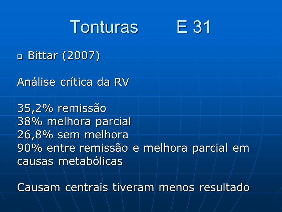 Tonturas E 31 Bittar (2007) Bittar (2007) Análise crítica da RV 35,2% remissão 38% melhora parcial 26,8% sem melhora 90% entre remissão e melhora parc