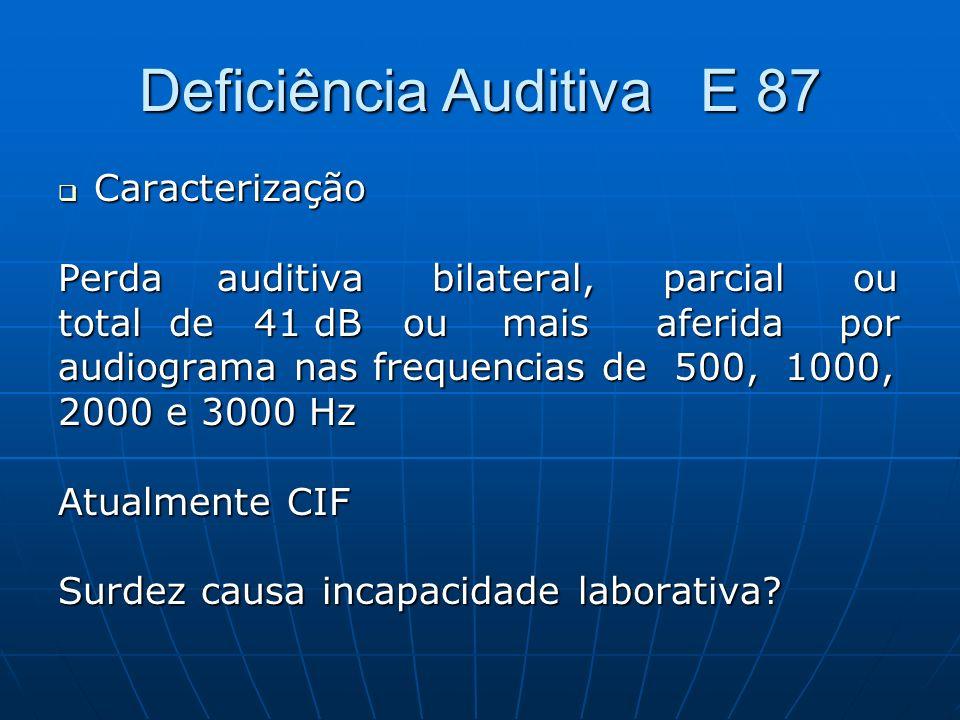 Deficiência Auditiva E 87 Caracterização Caracterização Perda auditiva bilateral, parcial ou total de 41 dB ou mais aferida por audiograma nas frequen