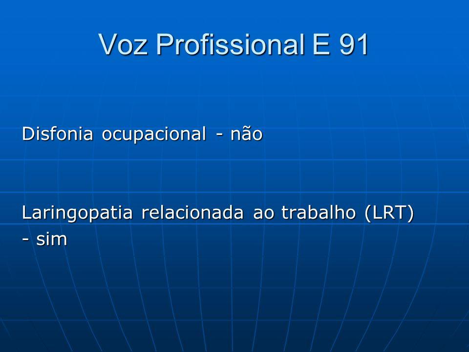 Voz Profissional E 91 Disfonia ocupacional - não Laringopatia relacionada ao trabalho (LRT) - sim