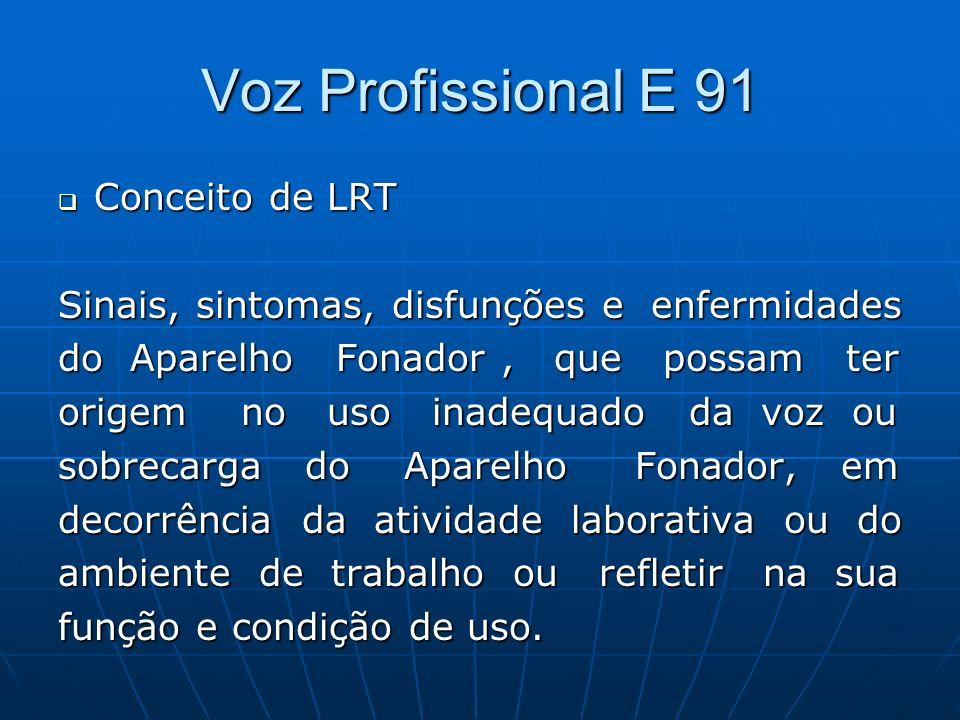 Voz Profissional E 91 Conceito de LRT Conceito de LRT Sinais, sintomas, disfunções e enfermidades do Aparelho Fonador, que possam ter origem no uso in