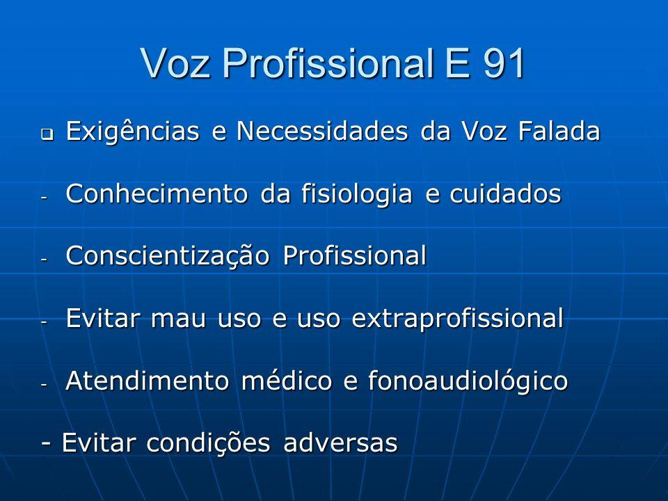 Voz Profissional E 91 Exigências e Necessidades da Voz Falada Exigências e Necessidades da Voz Falada - Conhecimento da fisiologia e cuidados - Consci