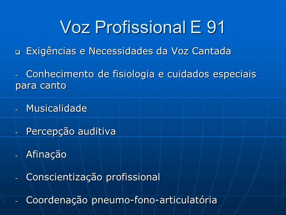 Voz Profissional E 91 Exigências e Necessidades da Voz Cantada Exigências e Necessidades da Voz Cantada - Conhecimento de fisiologia e cuidados especi