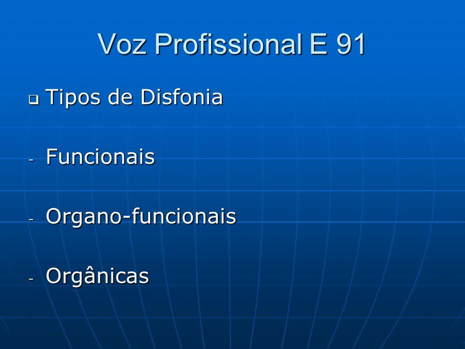 Voz Profissional E 91 Tipos de Disfonia Tipos de Disfonia - Funcionais - Organo-funcionais - Orgânicas