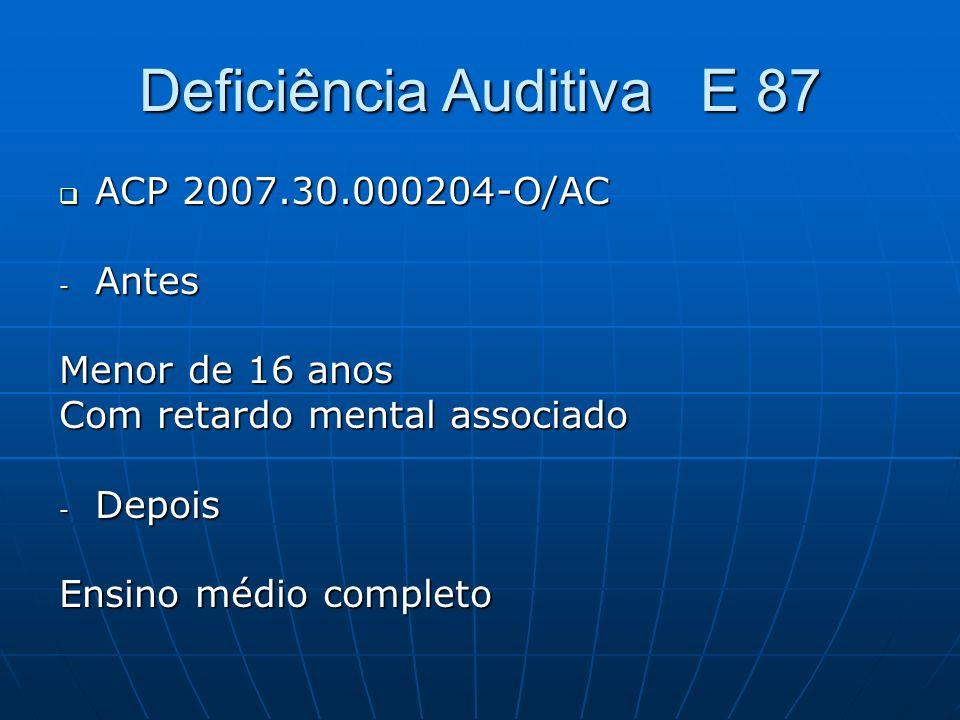 Deficiência Auditiva E 87 ACP 2007.30.000204-O/AC ACP 2007.30.000204-O/AC - Antes Menor de 16 anos Com retardo mental associado - Depois Ensino médio