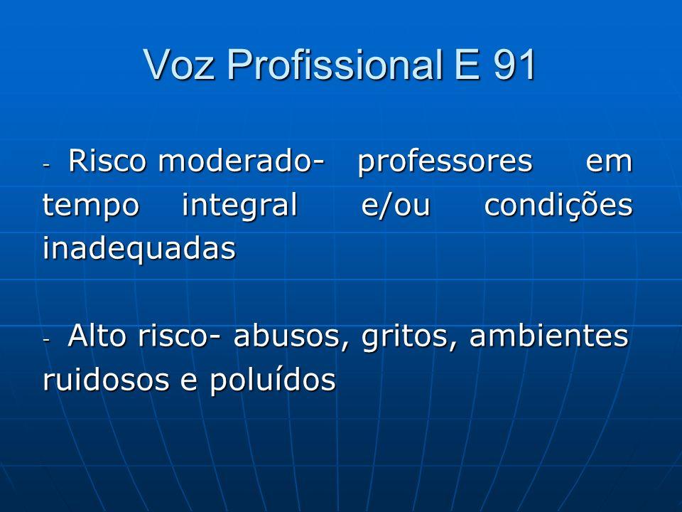Voz Profissional E 91 - Risco moderado- professores em tempo integral e/ou condições inadequadas - Alto risco- abusos, gritos, ambientes ruidosos e po
